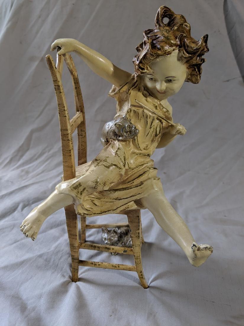 Art Deco Metal Sculpture Girl on Chair w/ Cats