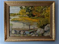 Francesco Spicuzza Dock on Pond Oil Painting