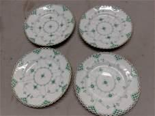 Set 4 Royal Copenhagen Rare Green Open Lace B&B Plates