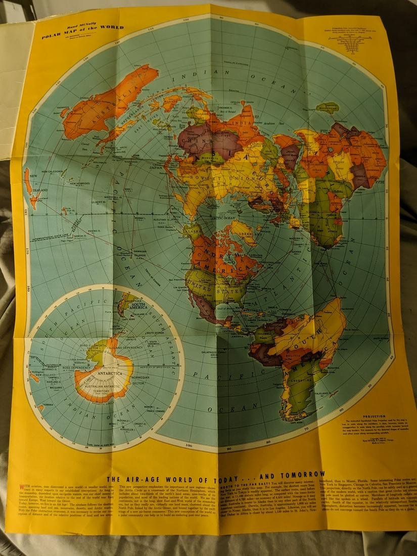 1943 Rand McNally Air-Age Map of the World Fold Out