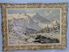 Laszlo Neogrady Winter Mountain Scene Landscape