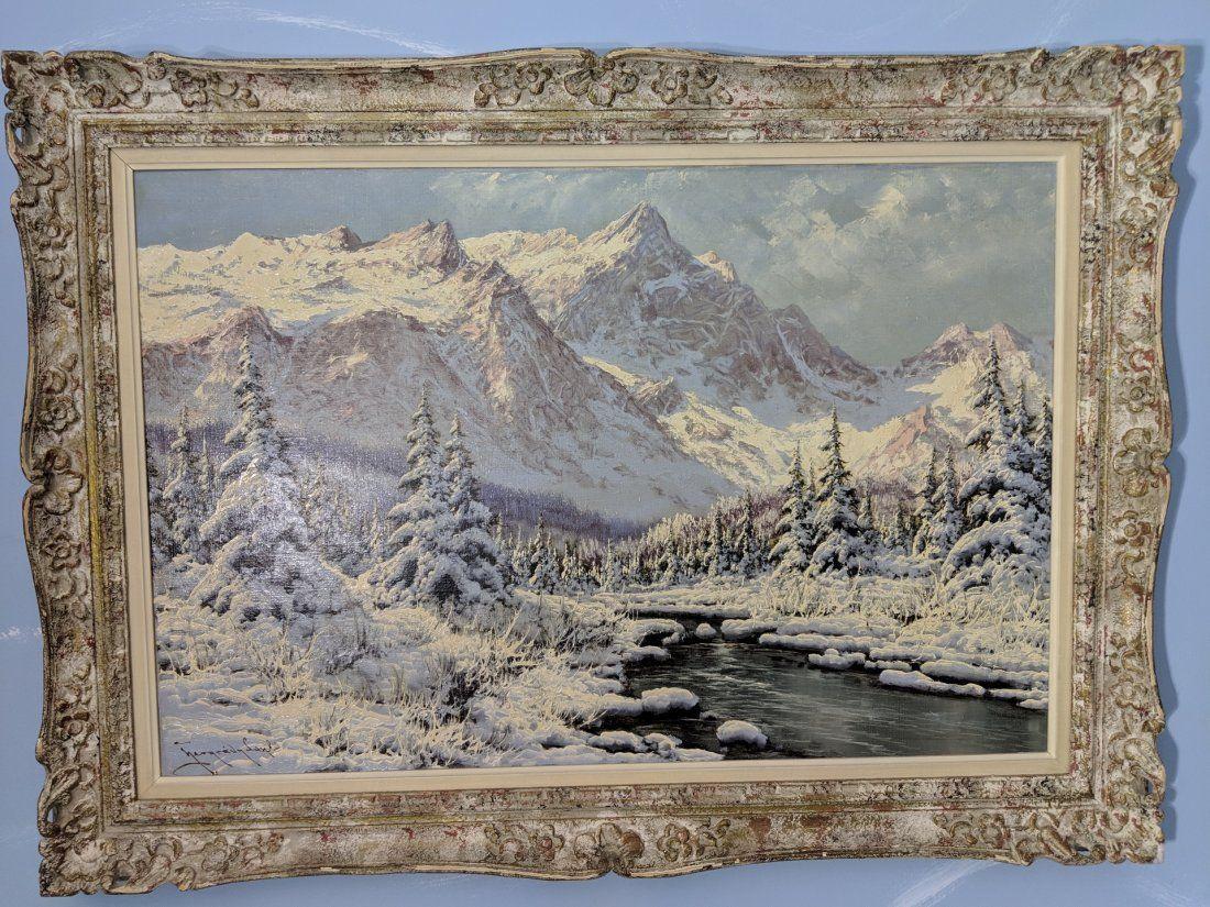 Laszlo Neogrady Winter Mountain Scene Landscape
