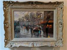 Edouard Courtois French Street Scene Painting