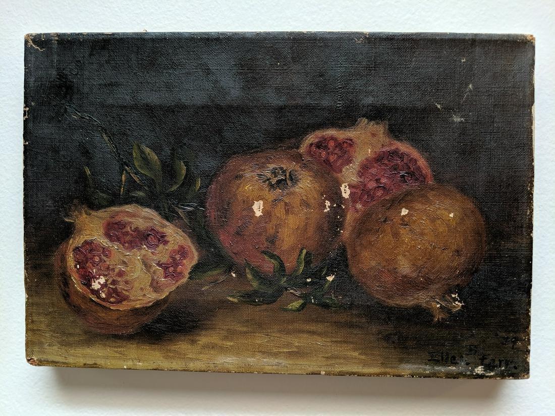 1879 Ellen B Farr Pomegranate Still Life Oil Painting