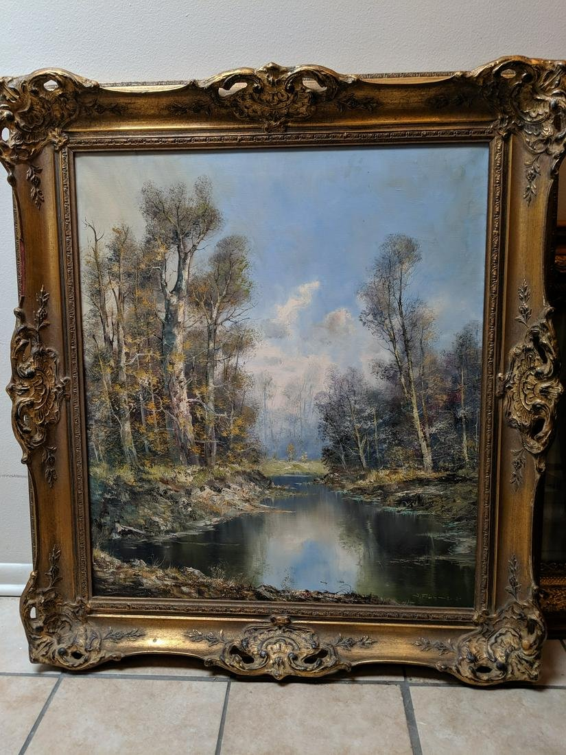 c1940 SIGNED Oil on Canvas Painting River Scene