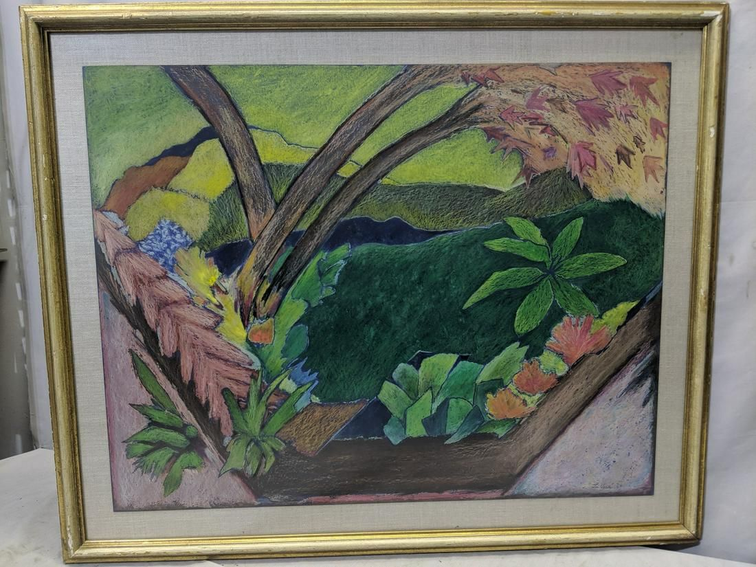 1961 Ann Pohl LaVera  Mixed Media Painting of Foliage