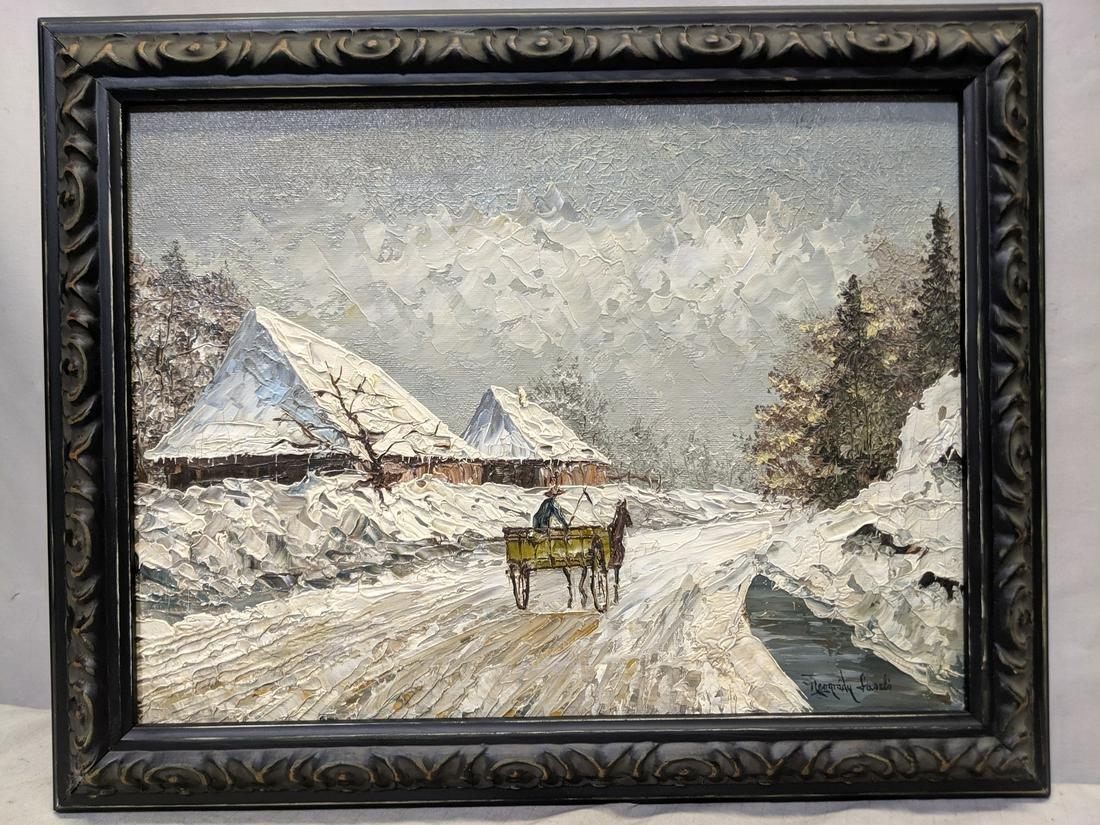 Laszlo Neogrady Oil Painting Horse Cart on Wintery Road