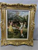 Vintage Signed E Esterary Oil Painting Dancing in Park