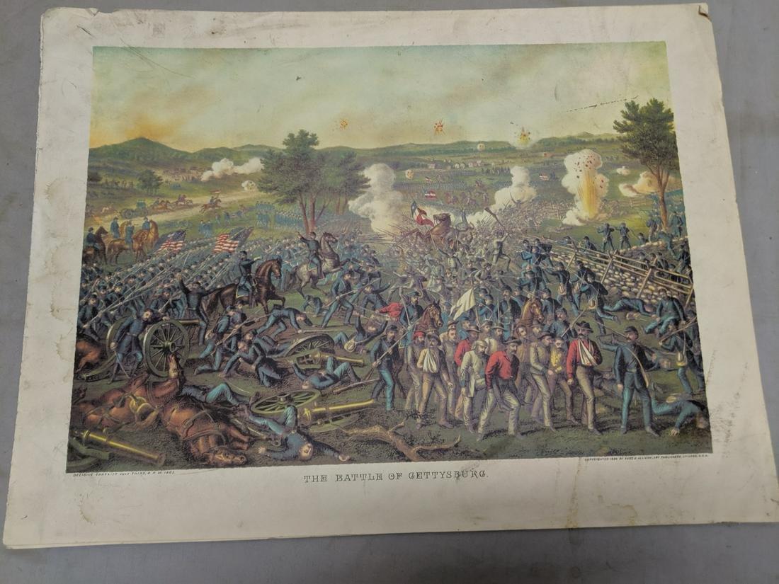 Antique Kurz & Allison Lithograph Battle of Gettysburg