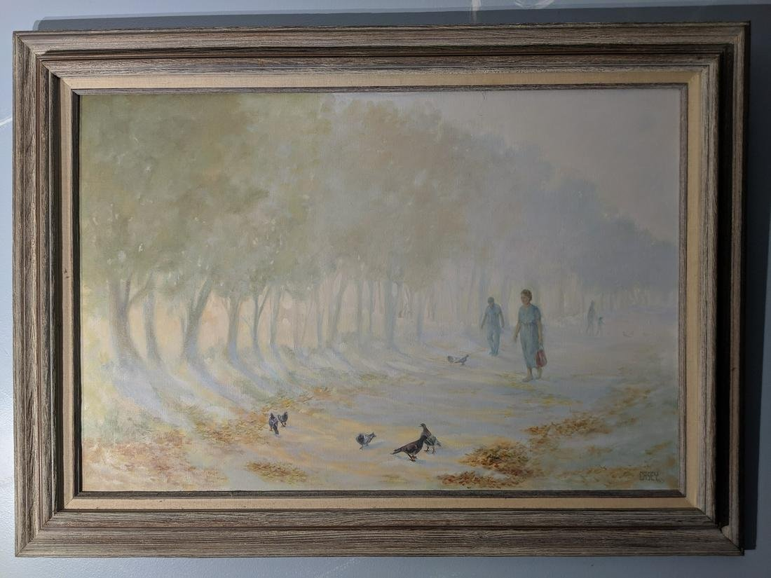 Old Large Oil Painting Summer's End Park Scene by Casey