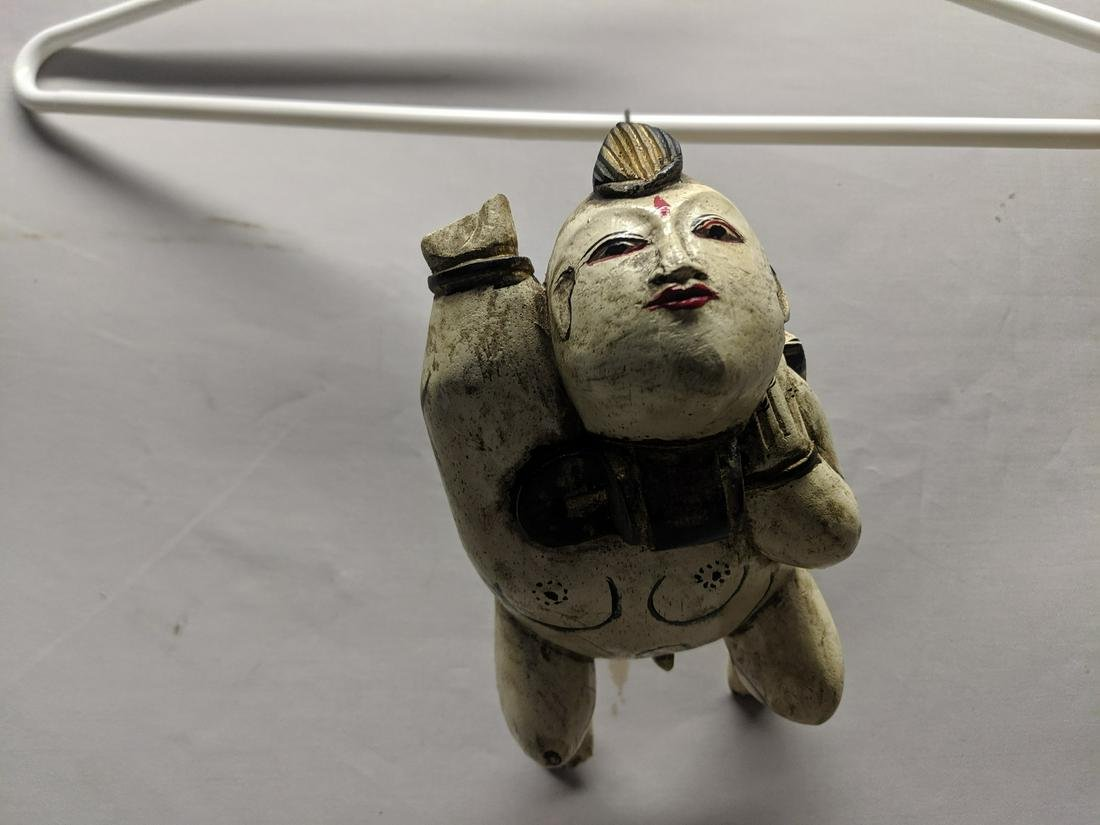 Japanese Carved Painted Wood Hanging Man Figure
