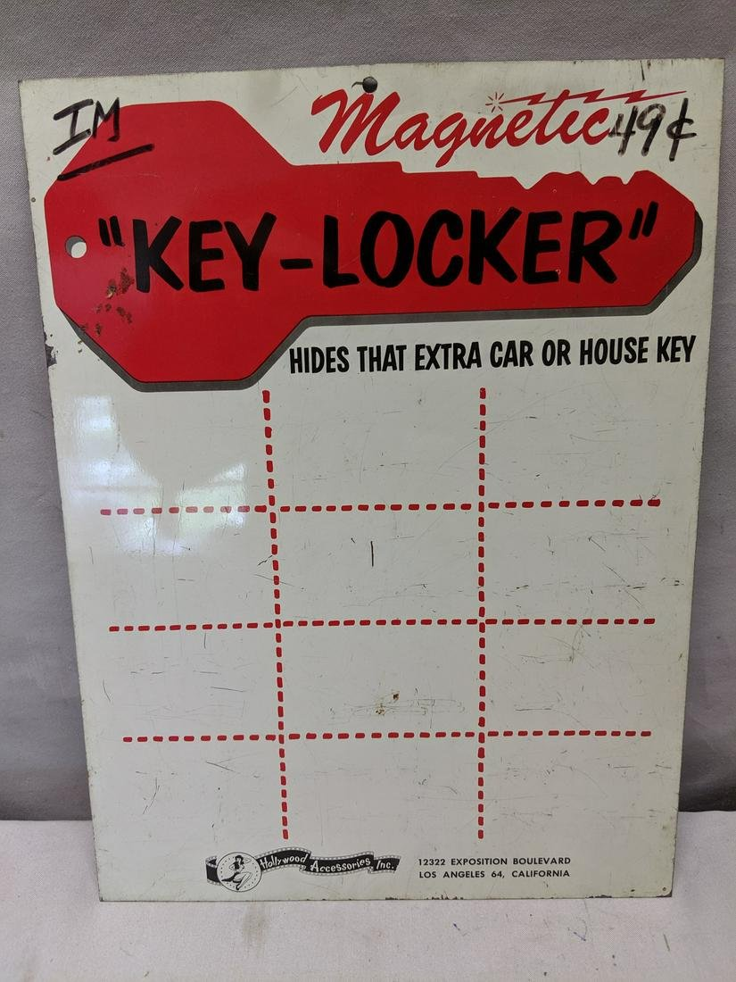 1950's Magnetic Key-Locker Hollywood Accessories Sign
