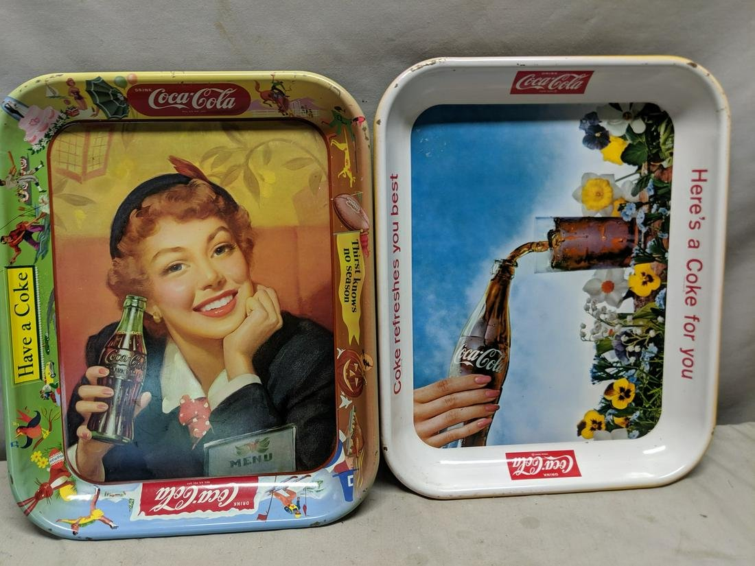 Pair Vintage Coke Coca-Cola Tin Metal Advert Trays