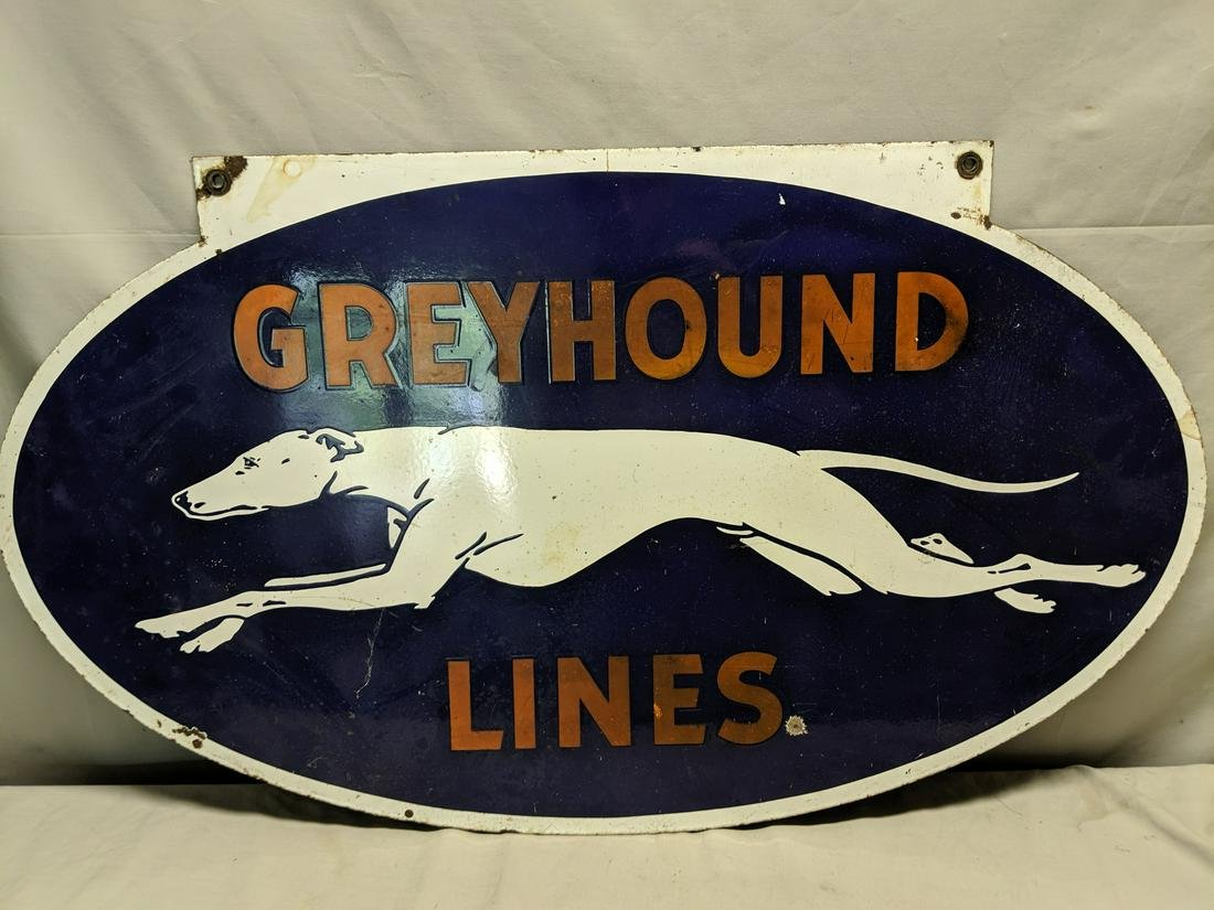 c1920 Greyhound Bus Lines Double Sided Porcelain Sign