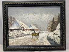 Laszlo Neogrady Oil Painting Horse Cart on Wintery Road