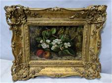 Antique Signed F Smith Oil Painting Fruit Flower