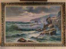 Guido Odierna HUGE Crashing Waves Seascape Oil Painting