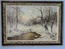 Laszlo Neogrady Winter River Scene Landscape Painting