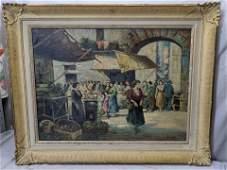 V Ciappa Italian Street Market Large Oil Painting