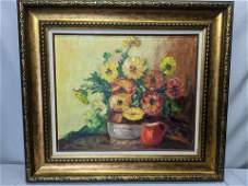 Mid-Century Signed Floral Still Life Oil Painting