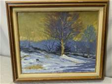 Signed Winter Landscape Oil on Board Painting