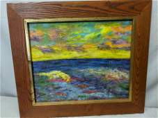 c1930s Impressionist Seascape Unsigned Oil Painting