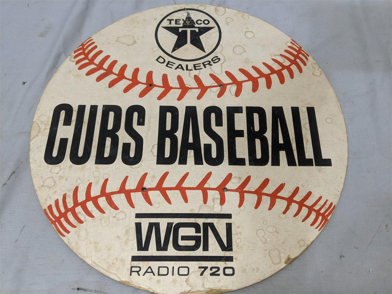 Vintage Texaco Gas Station Chicago Cubs Baseball Sign