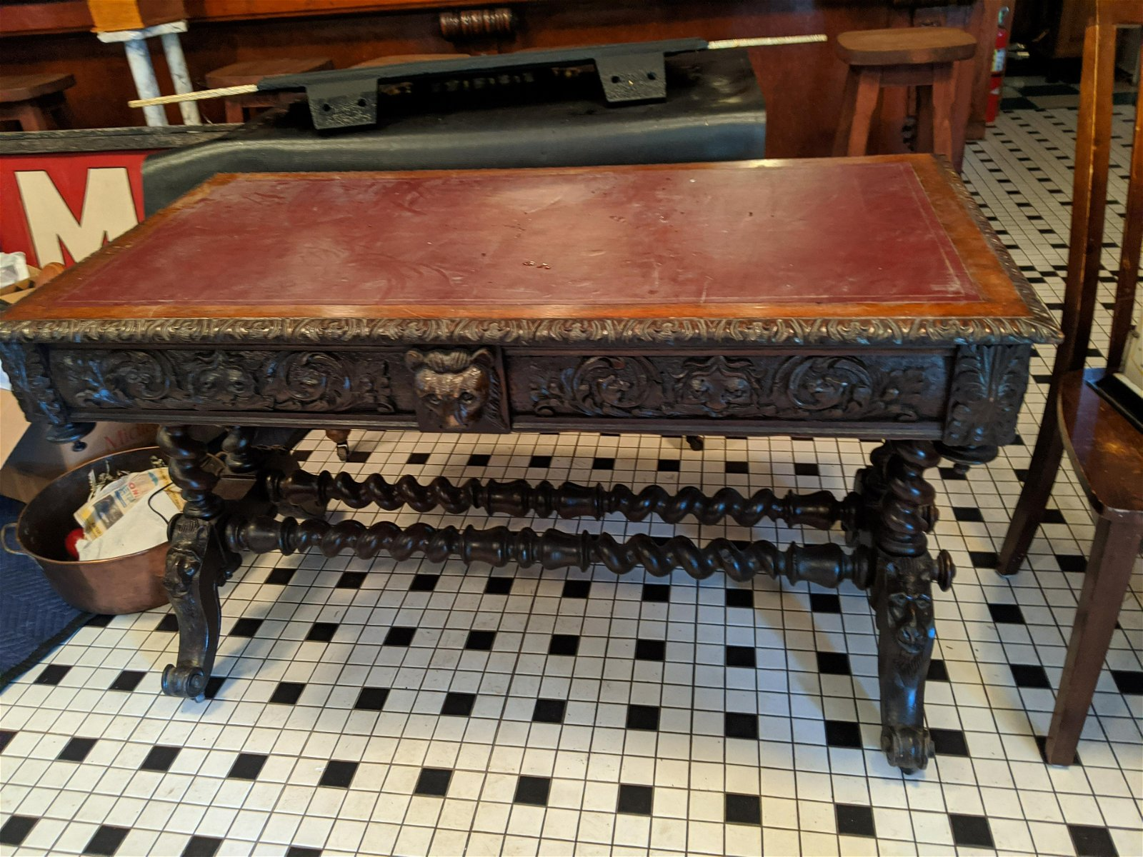 Antique Oak Wood Ornate Carved Gaming Game Table