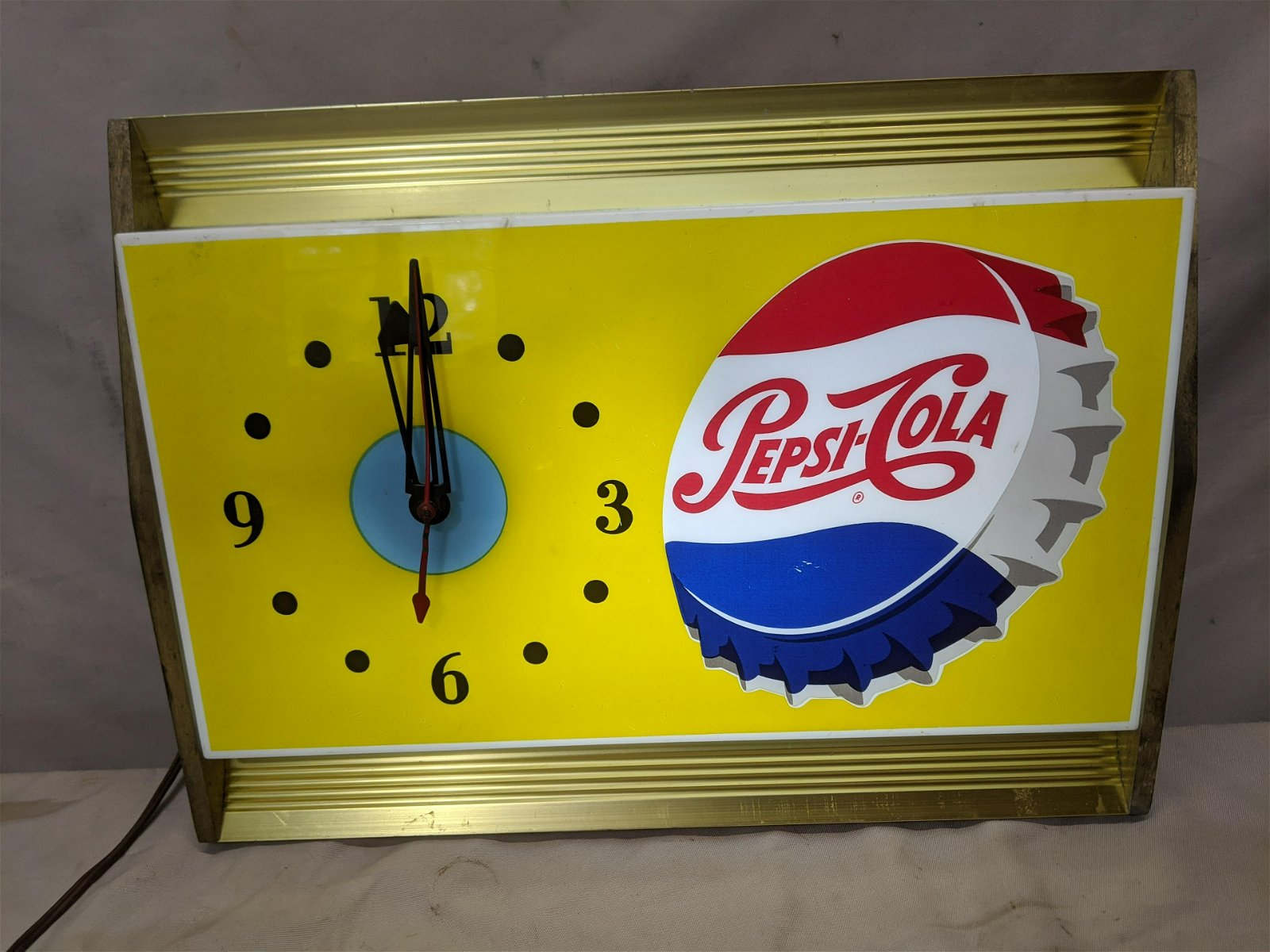 c1950's Pepsi Cola Light Up Wall Sign Clock by