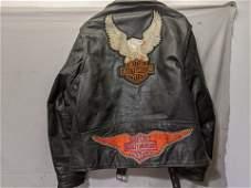 Vintage Harley Davidson Black Leather Motorcycle Jacket