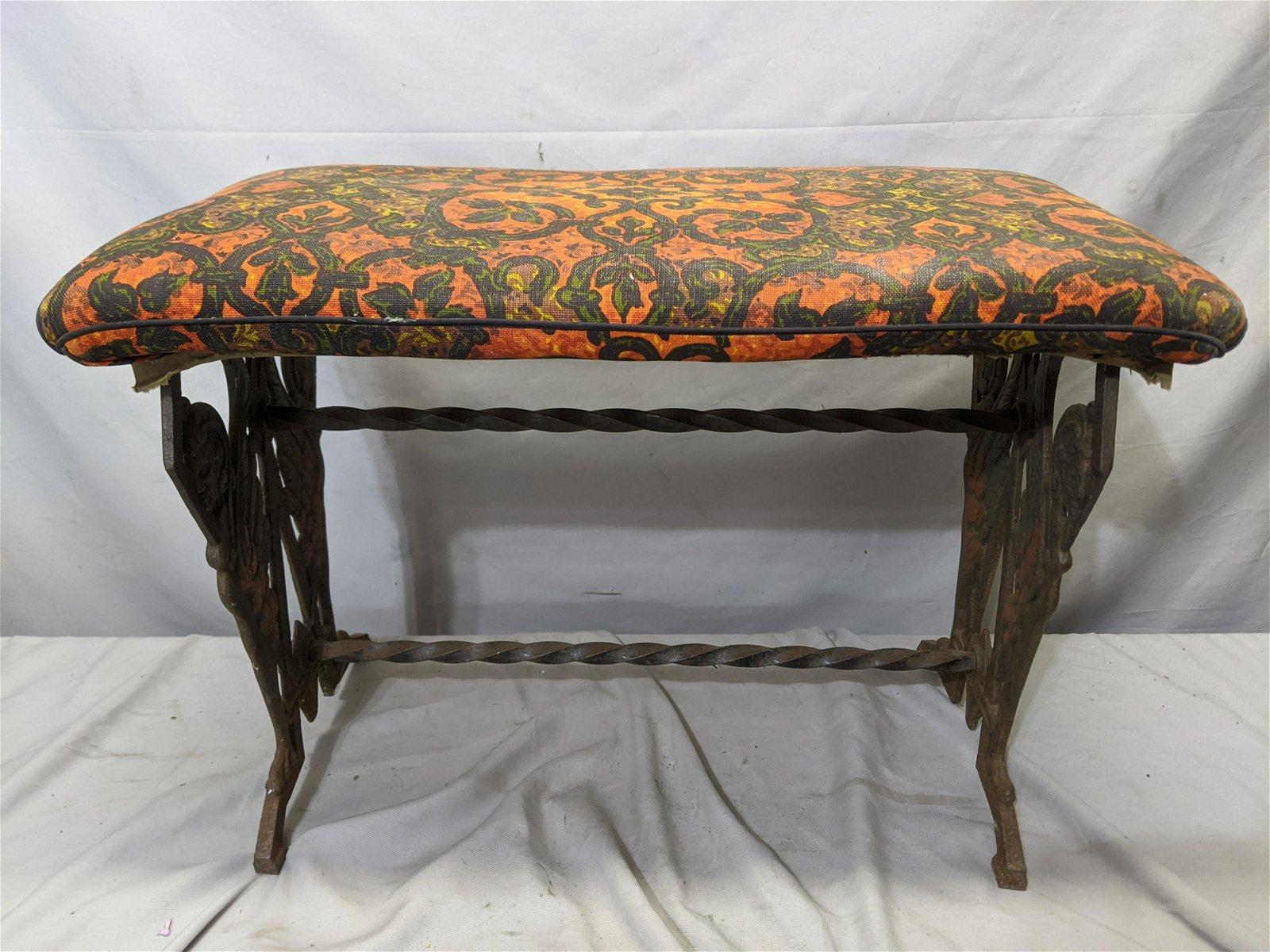 Antique Art Nouveau Cast Iron Upholstered Bench