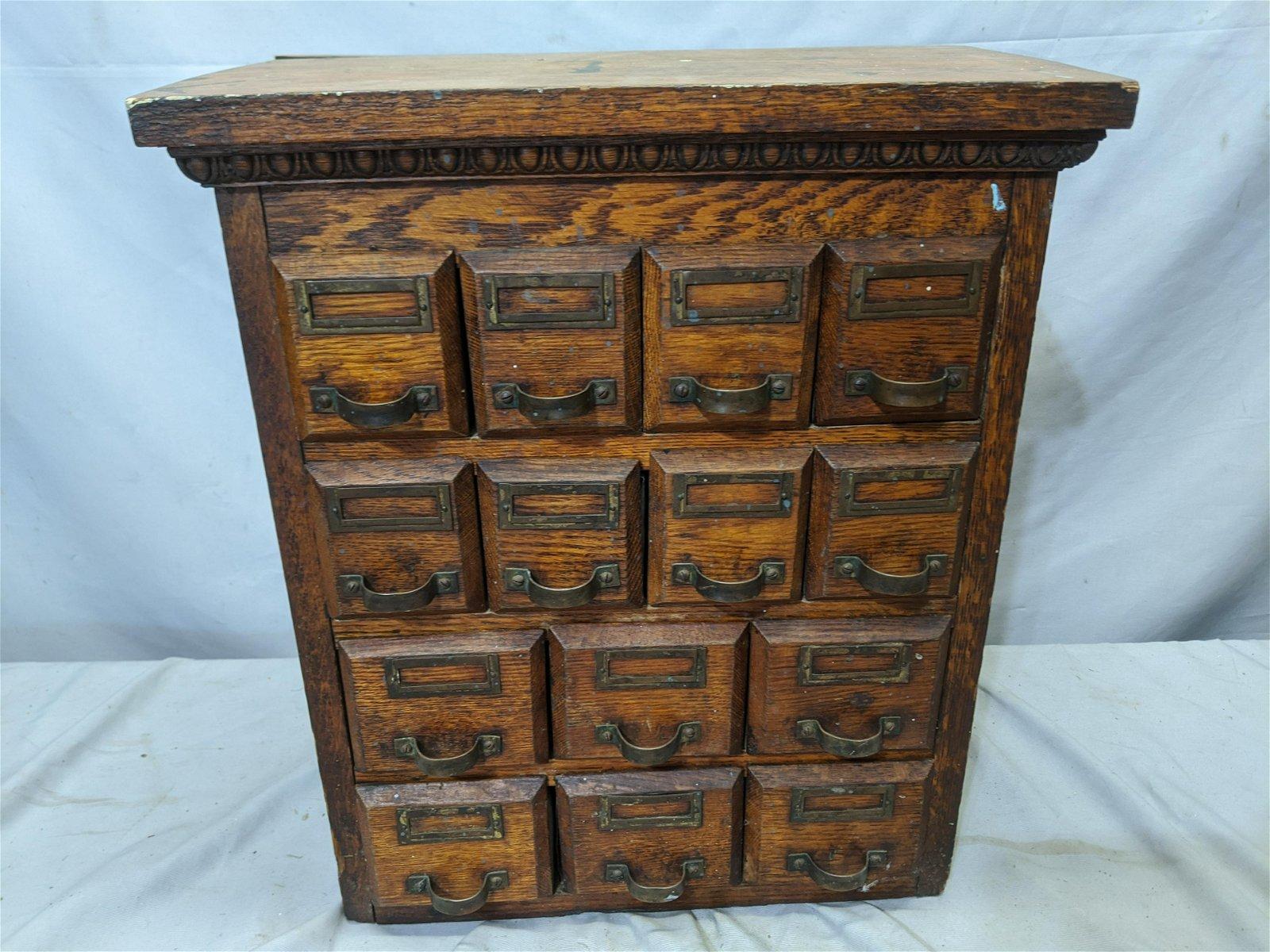 Antique Oak Wood Index File Drawer Table Top Cabinet