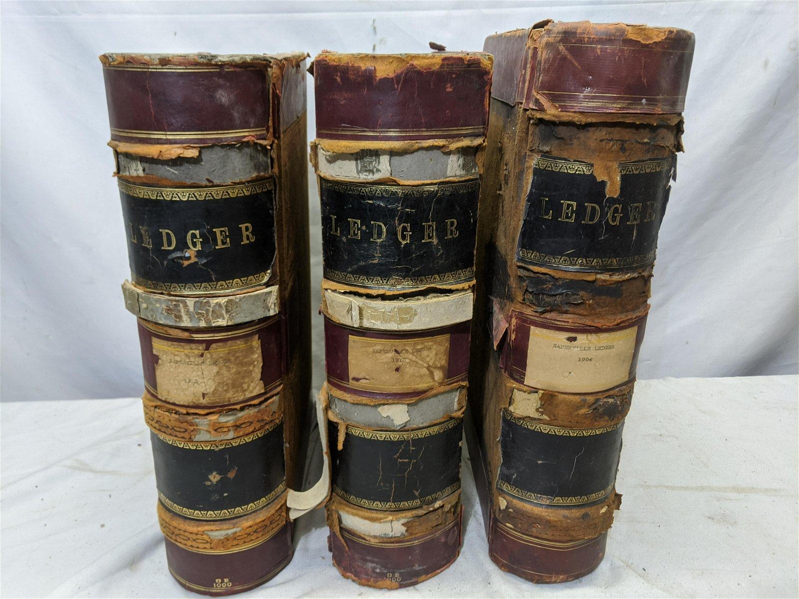 c1900 Set 3 Leatherbound Oversize Ledger Books