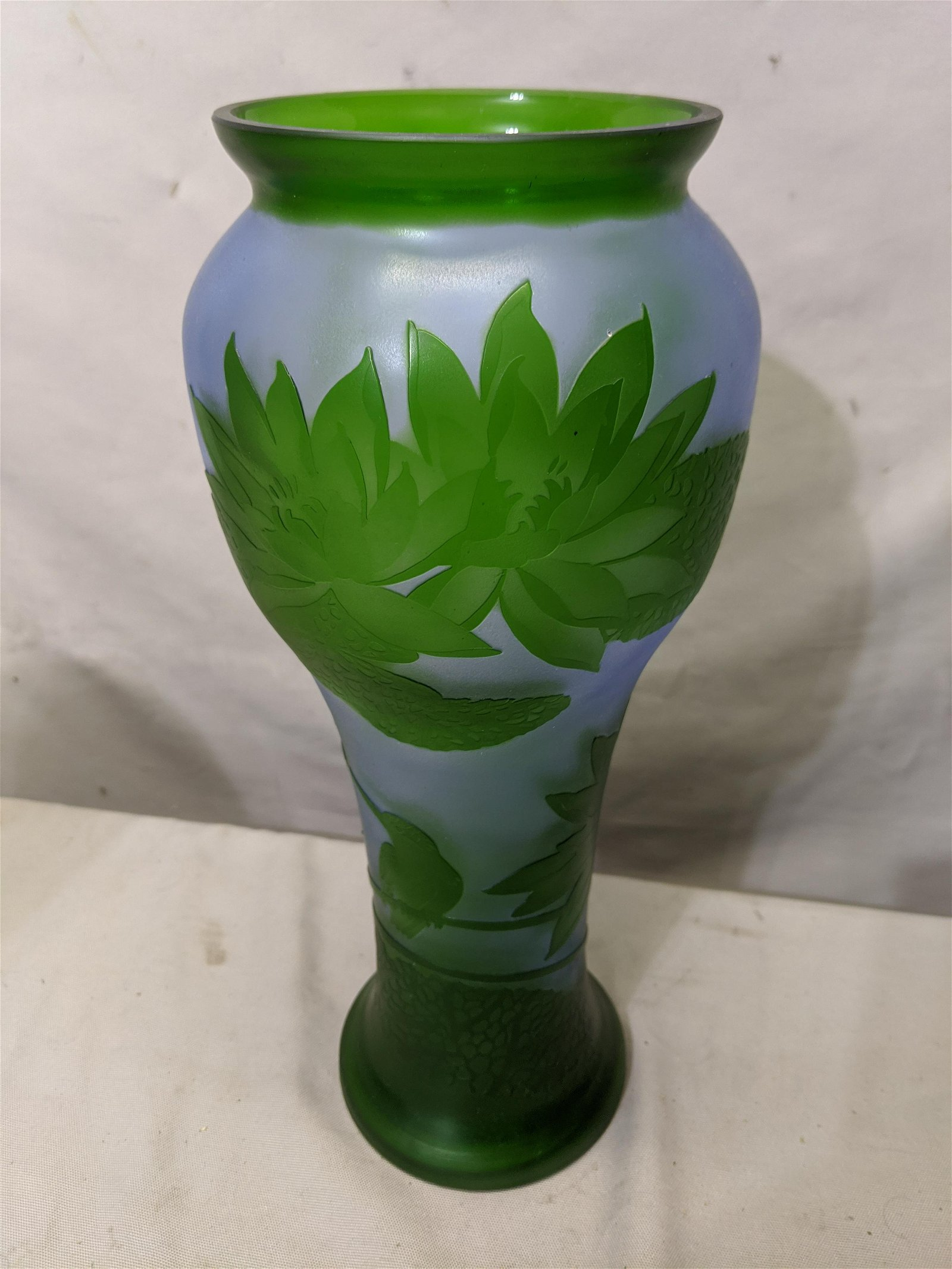 Emile Galle Green Blue Cameo Art Glass Vase w/ Birds