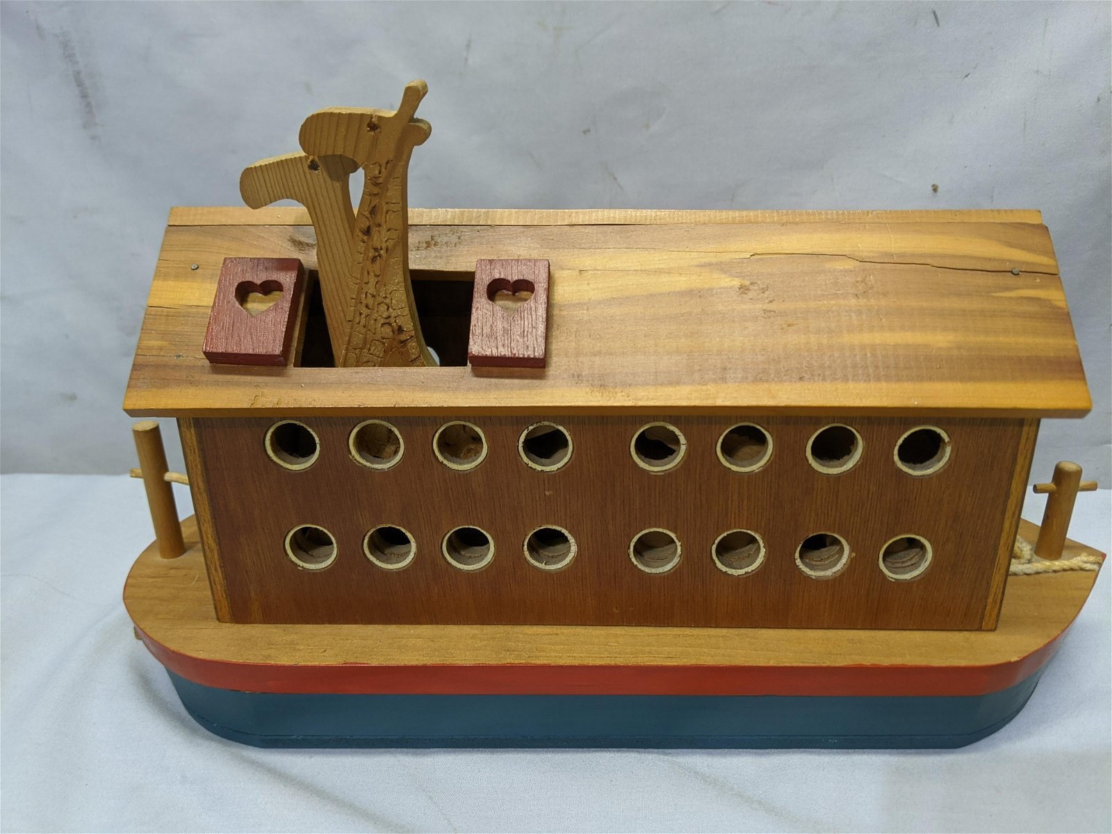 Vintage Noah's Ark Wooden Toy Ship w/ Animal Blocks