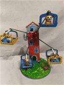 Vintage SY Japan Tin Litho Wind Up Cat Ferris Wheel