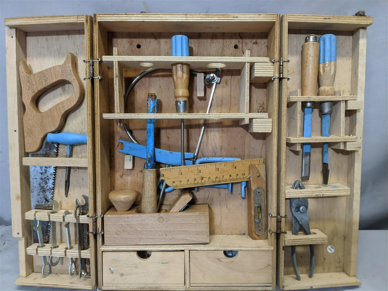 Vintage Child's Tool Set in Wood Case Made in Poland