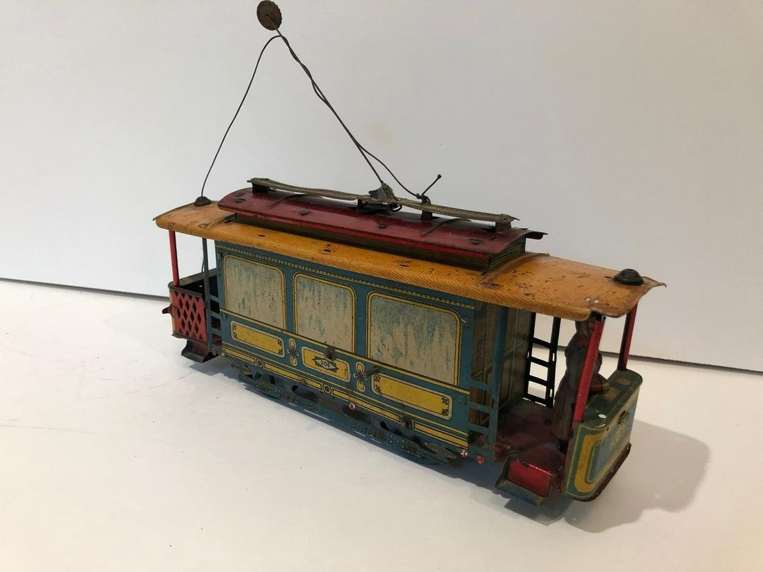 c1910 Oro Germany 206 Tin Litho Trolly Tram Wind Up Car