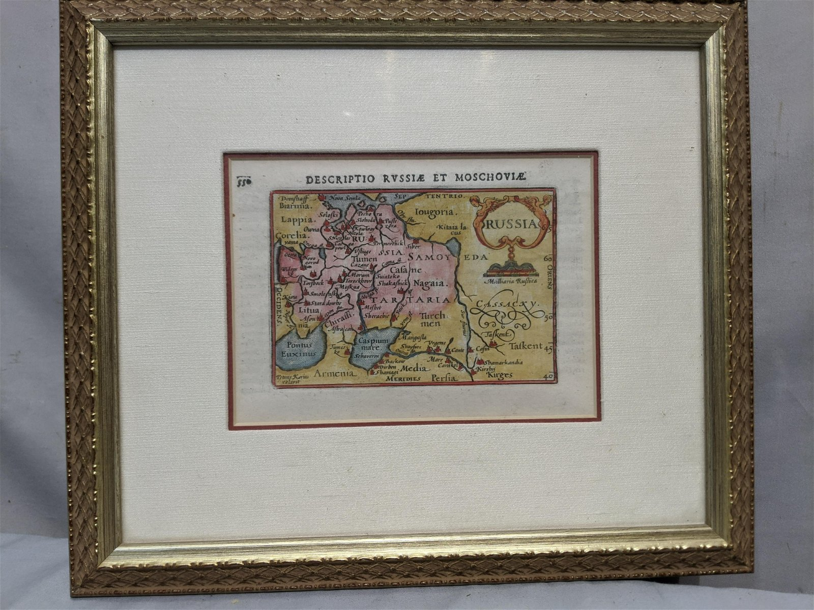 Original Year 1606 Moscow Russia Hand Colored Map