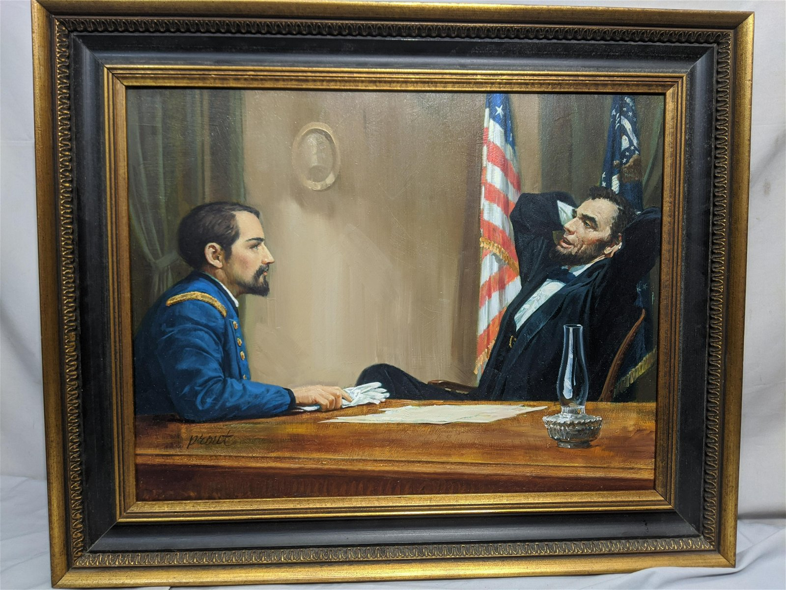 George Prout Abraham Lincoln at Desk Oil Painting