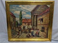 Raymond Stelzner Gypsy Street Scene Oil Painting