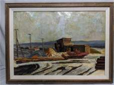 Theodor Bechnik Left Old Houses Oil Painting