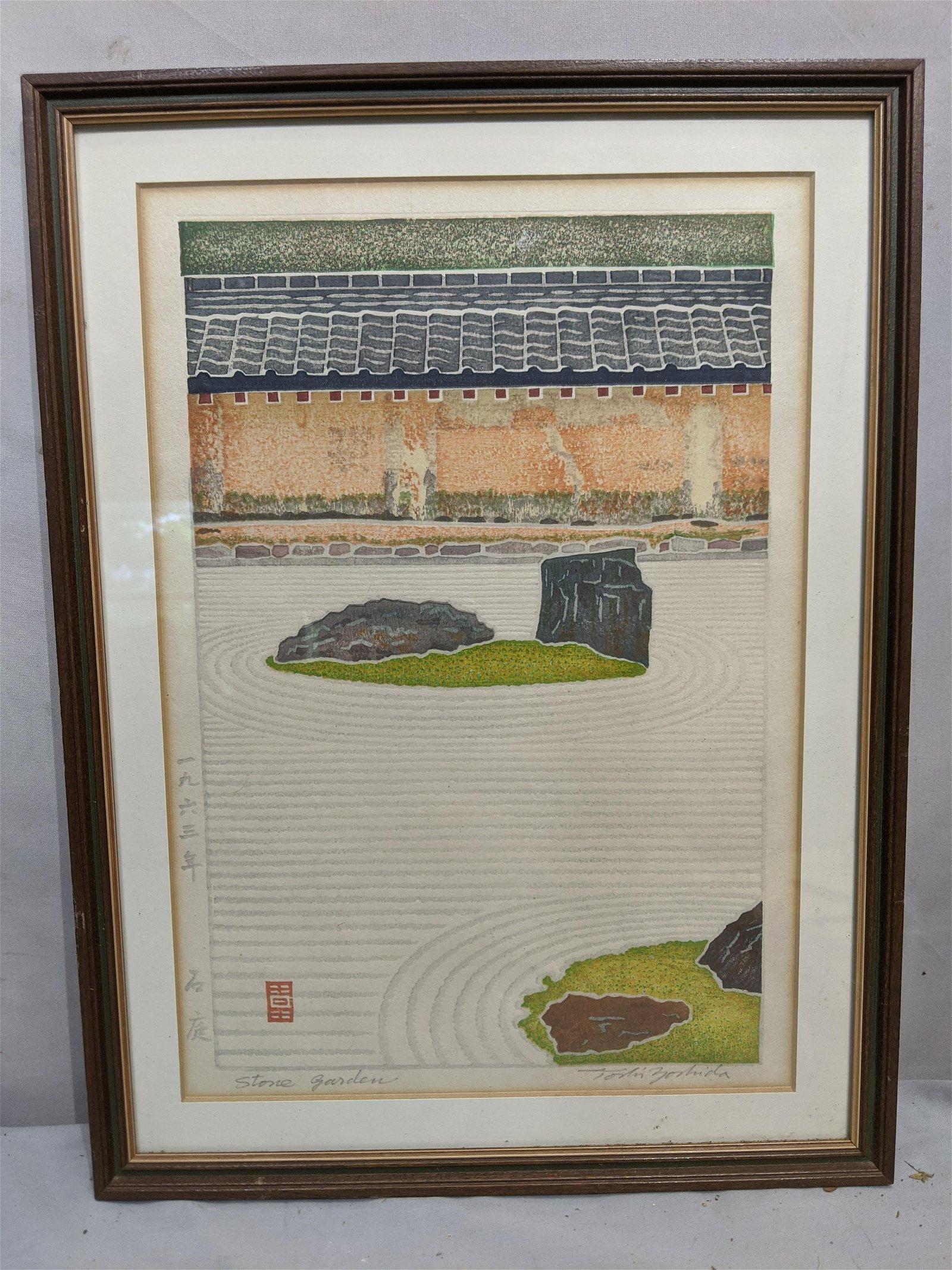 1963 Toshi Toshida Stone Garden Japanese Woodblock