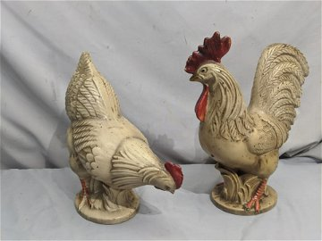 Pair Royal Haeger Art Pottery Chicken Rooster Figures