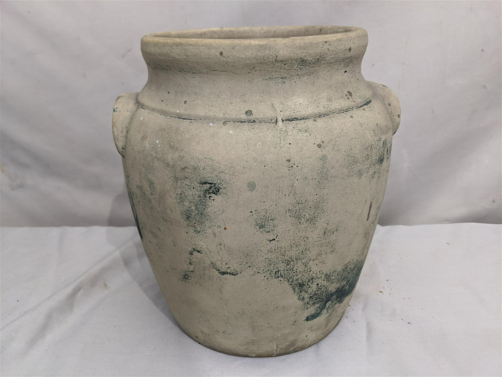 Antique Ransburg Handpainted Cookie Jar Stoneware Crock