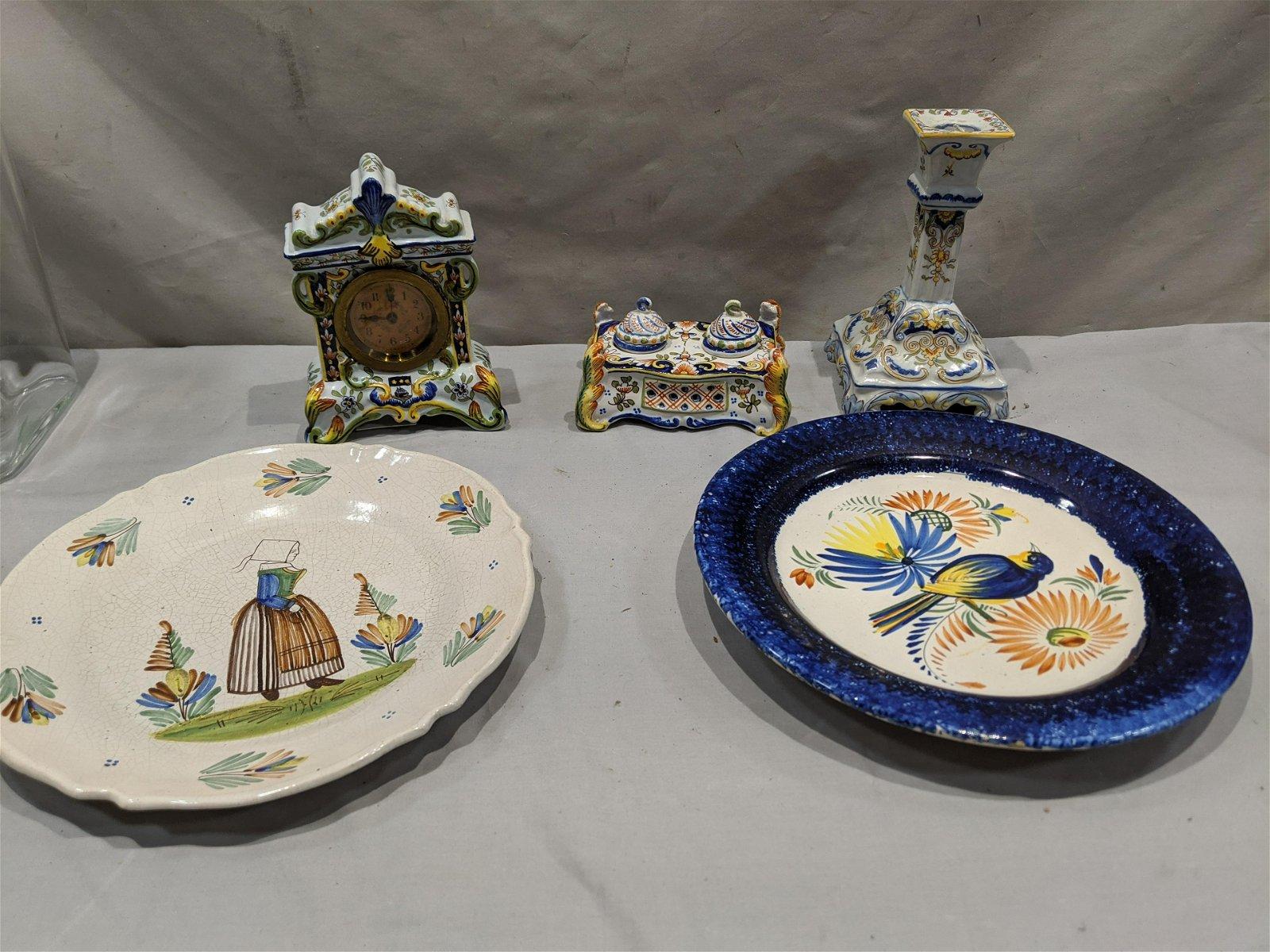 Lot 5 Henriot Quimper France Pottery Plate Clock