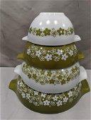Set 4 Pyrex Spring Blossom Nesting Glass Mixing Bowls