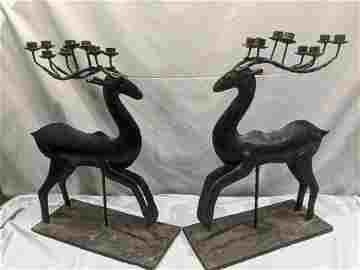 Pair Large Vintage Wrought Iron Deer Candlesticks