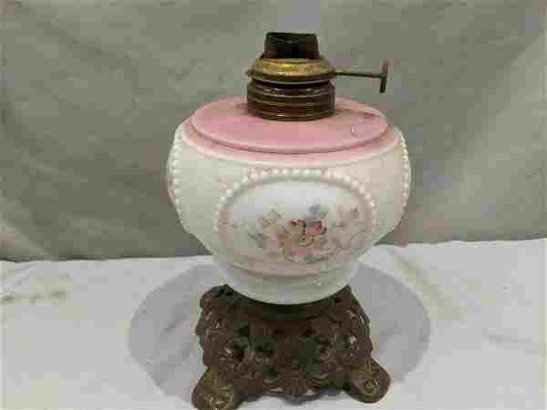 Victorian Hand Painted Milk Glass & Brass Oil Lamp