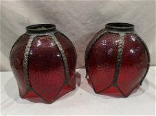 Pair Antique Large Tulip Shaped Red Glass Lamp Shades